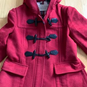 Burberry Brit Size 12 woman's toggle coat red